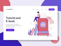 Landing page template of Tutorial and E-Book Illustration Concept. Isometric flat design concept of web page design for website vector illustration