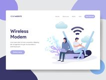 Landing page template of Wireless Modem Illustration Concept. Modern flat design concept of web page design for website and mobile royalty free illustration