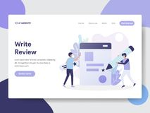 Landing page template of Write Review Illustration Concept. Modern flat design concept of web page design for website and mobile. Website.Vector illustration stock illustration