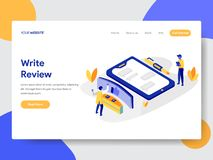 Landing page template of Writing Review Concept. Modern flat design concept of web page design for website and mobile website. Vector illustration royalty free illustration