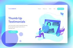 Landing Page Thumb Up Testimonials. The concept of a man carrying a thumb up hand on a comment board, can be used for landing pages, web, ui, banners royalty free illustration