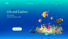 Landing page website template. life and explore. let`s to travel refresh and relax your mind. blue tone background. vector. Landing page website template. life vector illustration