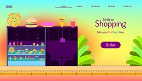 Landing page website template. online shopping. take your order fast food time. for owner restaurants and franchise business royalty free illustration