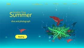 Landing page website template. Summer vacation time. Blue tone background. Illustration eps10. Landing page website template. Summer vacation time. Blue tone vector illustration