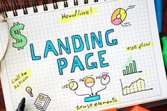 Landing page written in a notebook. Stock Photos