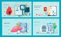 Landing pages with blood glucose testing meter, hypotension and hypertension, hepatitis, blood donation. vector illustration