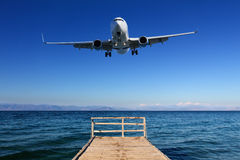 Landing in paradise - airplane approaching ground Royalty Free Stock Photo