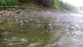 Landing paraglider into river during tropical rain stock video footage