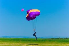 Landing paratrooper. In Romania 2014 Royalty Free Stock Image