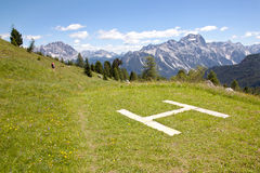 Free Landing Place For Helicopter Near Cinque Torri In The Dolomites Royalty Free Stock Photos - 33196238