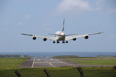 A380. Landing in plaisance mauritius Royalty Free Stock Image