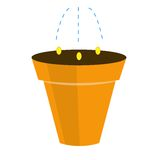 Landing of plant by seed in a pot, illustration Stock Photography