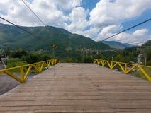 Landing platform for zip line - enjoying the adrenaline rush. Djurdjevic Tara bridge in Montenegro royalty free stock images