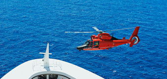 Landing of rescue helicopter Royalty Free Stock Photo