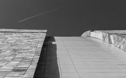 Landing road. Rooftop at Cidade da Cultura. Different views of the Cidade da Cultura in Santiago de Compostela Stock Image