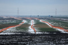 Landing runway. In December, winter time with snow Stock Photo