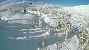 Landing from ski lift stock footage