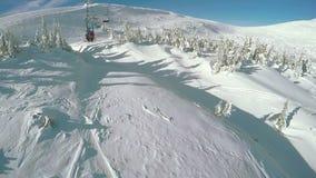 Landing from ski lift stock video