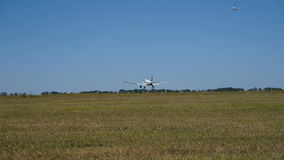 Landing sports plane stock footage