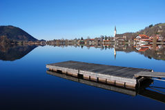 Landing stage at bavarian lake. Scenic view of lake Schliersee in the Alps Stock Photo