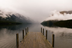 Landing stage at fogy lake. In the nelson lakes national park, new zealand Royalty Free Stock Photos