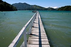 Landing stage in the Marlborough Sounds. New Zealand Royalty Free Stock Photo