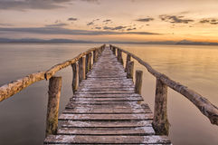 Landing Stage after sunset. Jetty in the Nicoya Gulf after sunset, La Ensenada, Costa Rica Stock Photo