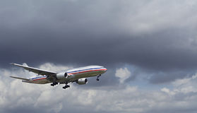 Landing During A Storm. Airplane Landing During A Storm Stock Image