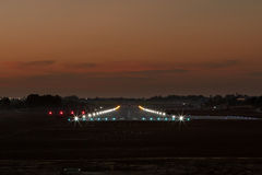 Landing strip. Photo of landing strip in the evening Stock Images