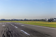 Landing strip with skid marks Royalty Free Stock Photography