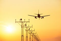 Landing at the sunset Royalty Free Stock Photos