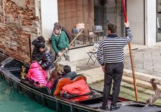 The landing of tourists from the gondola. Italy. Venice Stock Images
