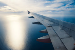 Landing. The view from the window of an airplane Stock Images