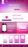 Landing web page. Vector design website theme template. Landing web page layout with blurred background Royalty Free Stock Photography