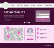 Landing web page. Vector design website theme template. Landing web page layout with blurred background Royalty Free Stock Images