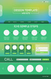 Landing web page. Vector design website theme template. Landing web page layout with blurred background Stock Photography