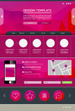 Landing web page. Vector design website theme template. Landing web page layout with blurred background Stock Photos