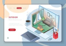 Isometric interior furniture landing page. Landing web template page with isometric residential interior room drawing stock illustration