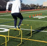 Landing between yellow hurdles during speed training. A high school track and field runner is jumping over hurdles during jumps practice on a turf field stock photo