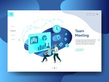 Landingspagina Team Meeting royalty-vrije illustratie