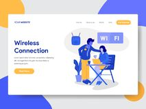 Landingspaginamalplaatje van Draadloos Verbinding en Wifi-Illustratieconcept Modern vlak ontwerpconcept webpaginaontwerp voor vector illustratie