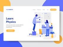 Landingspaginamalplaatje van Learn het Concept van de Fysicaillustratie Modern vlak ontwerpconcept webpaginaontwerp voor website  stock illustratie