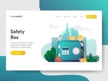 Landingspaginamalplaatje van Veiligheidsvakje Illustratieconcept Modern vlak ontwerpconcept webpaginaontwerp voor website en mobi royalty-vrije illustratie