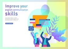 Landingspaginamalplaatjes voor Online taalcursussen, afstandsonderwijs, opleiding Taal het Leren Interface en royalty-vrije illustratie