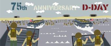 Landingsvaartuig met militairen op landende stranden in Normandië Frankrijk stock illustratie