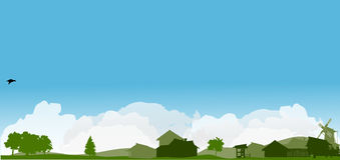 Landlandschaft mit grünen Bäumen Lizenzfreie Stockfotografie
