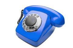 Landline blauwe telefoon op een geïsoleerde witte achtergrond Stock Afbeelding