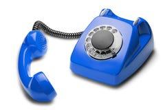 Landline blauwe telefoon op een geïsoleerde witte achtergrond Stock Afbeeldingen