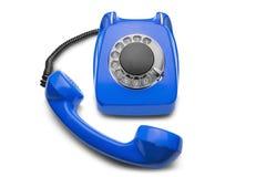 Landline blauwe telefoon op een geïsoleerde witte achtergrond Stock Foto