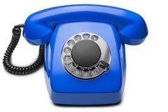 Landline blauwe telefoon op een geïsoleerde witte achtergrond Royalty-vrije Stock Foto